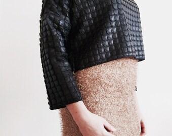 Hot pink stretch knit pencil skirt.