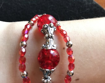 Red Triple-Strand Red Bracelet with Tibetan Silver Accents