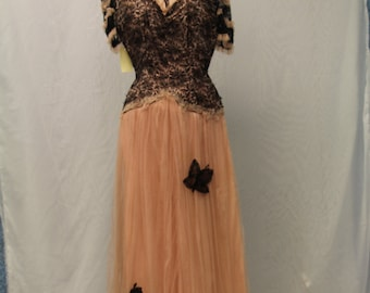 1930's Pink Tulle Dress with Black Lace Overlay and Black Lace Butterflies