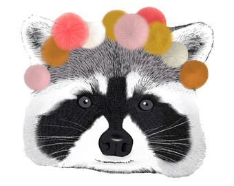 Pillow raccoon with pom poms
