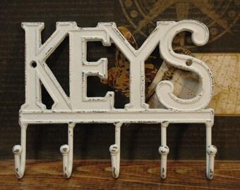 KEYS metal key rack, Key holder, Key hooks, Key rack, Cast iron hooks, metal hooks, shabby white, Wall decor, rustic decor, whitewashed, key