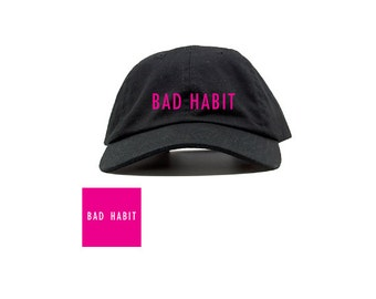 BAD HABIT Embroidered Dad Cap | Baseball Cap - Pink/White