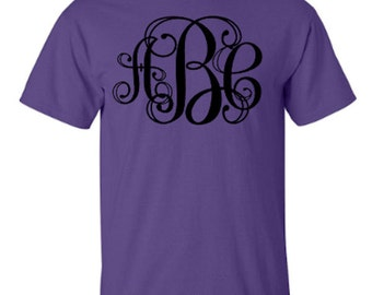 Personalized Monogram Unisex Tshirt with Vine 2 Font