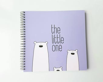 Polar Bears PURPLE - Baby memory book with Winter colors, Straight, LGBT, Lesbian, Gay, Same sex parents