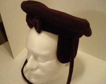 Vintage Childrens Hat, Ear Flaps and Tie, Dark Brown/Maroon