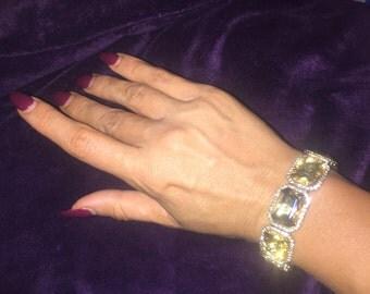 Crystal rhinestone gold amber bracelet
