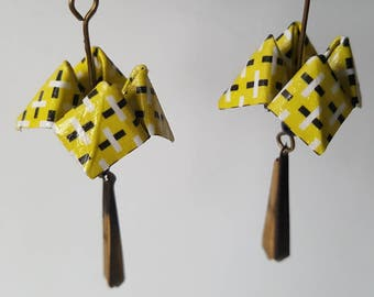 Casseroles in paper origami earrings