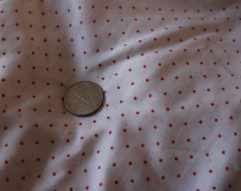 16 Vintage white cotton with red dot. Sweet fabric.