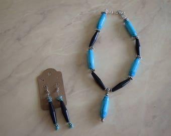 Turquoise & Black Cylindrical Beaded Set