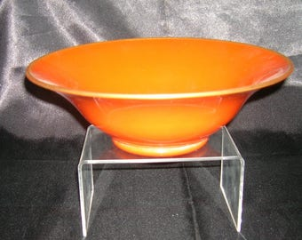 Just in Time for HALLOWEEN Entertaining Vintage Orange Glass Round Bowl for Serving Salad, Fruits, Candy or Halloween Goodies