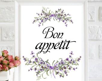 Bon Appétit Print, Kitchen art, Kitchen wall art, Kitchen decor, Kitchen printable art, Kitchen Poster, watercolor Lavender, printable quote