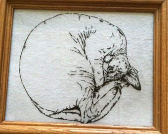 Custom hand painted silhouette of a Sphynx cat