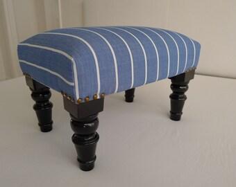 Stylish Footstool/Ottoman/Stool upholstered w German Handwoven Blue/White Fabric
