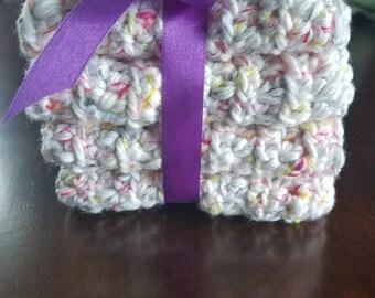 4 pack cotton bath cloths in spring bouquet