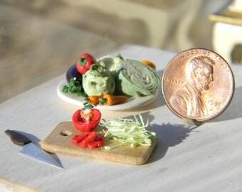 Dollhouse Vegetables,1/12 Scale, Dollhouse Miniature Food, Cabbage, kohlrabi, cauliflower, carrots, eggplant, pepper, parsley, knife