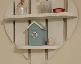 Rustic White Heart Shelves