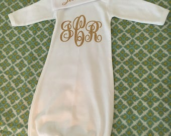 Sleeper Gown and Beanie Set, Baby Sleeper Set with Monogram, Baby Gown, Baby Homecoming, Homecoming outfit