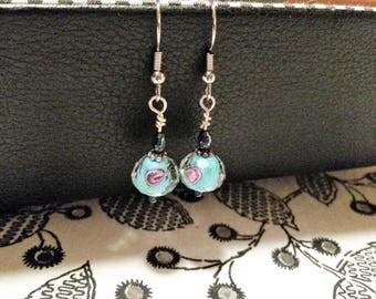 Aqua Lampwork and Black Iris Glass bead earrings Nickle Free Headpins and Ear Wires