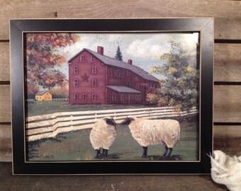 framed Pam Britton farmhouse and sheep print country primitive farmhouse Decor