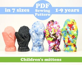 Children's fabric mittens sewing pattern, in 7 sizes (age 1-9 years), baby & kids gloves - PDF Instant Download