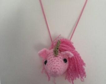 Crochet unicorn necklace