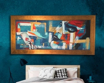 Modern Abstract Art, Large Original Painting,  Hand Painted, Acrylic Painting on Canvas, Framed