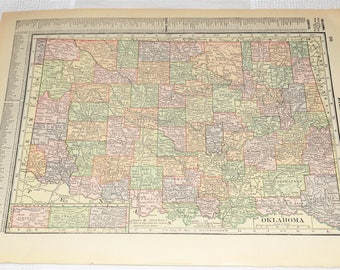 1915 Antique Oklahoma Map