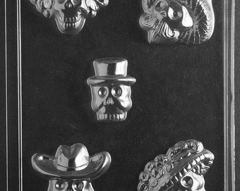 Day Of The Dead Skulls Chocolate Mould