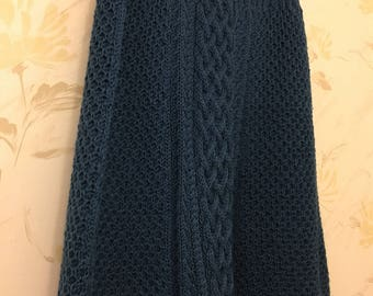 Pure Wool A-Line Hand-Knit Boho Blue Skirt