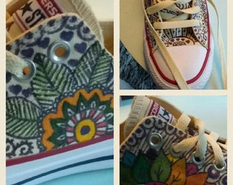 Hand-painted Converse sneakers size 37