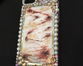 Iphone 7 case / Swarovski- Marble /Pearls
