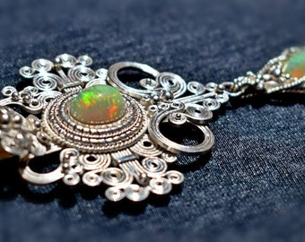 Handmade necklace, silver 950 with ethiopian opal fire stones.