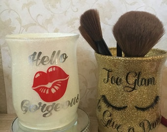 Custom Glitter Makeup Brush Holder