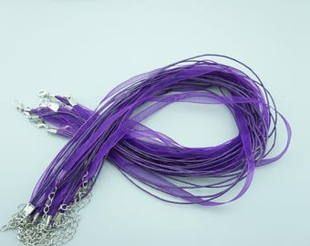 50pcs 16-18 Inches Purple Ribbon Necklace Cords Chains For DIY Jewelry S014