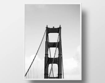 golden gate bridge print black and white digital print cityscape photography golden gate bridge art san francisco print golden gate decor