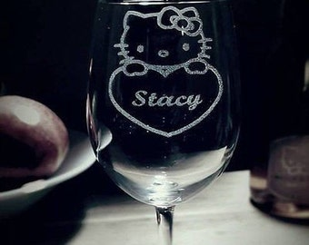 Kitty Wine Glass with name