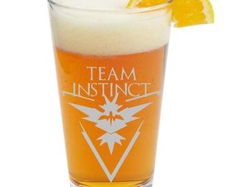 POKEMON, Team Instinct,Personalized Glass- Themed Pint Glasses-Beer Glass