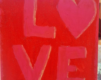 Red and Pink LOVE painting 8x10