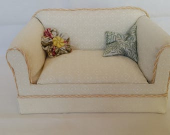 Contemporary two-seater couch, hand-made 1/12 scale miniature furniture for dolls-houses