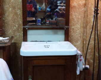furniture wood of chestnut with washbasin