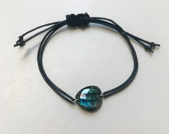 Labradorite Leather Cord Bracelet