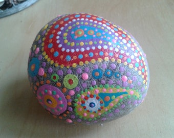 Paisley pebble, hand painted, beach pebble, painted rock from Cornwall, OOAK.  paperweight, birthday gift, home decor, boho, hippie gift,