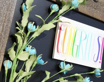 Hand Lettered 5x7 Congrats Greeting Card Congratulations, Graduation