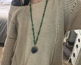 Long Druzy Beaded Necklace