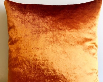 Orange Velvet Pillow Cover,18x18 Pillow Velvet,Orange  Pillow, Designer Pillow, Velvet Pillows, Velvet Cushion Cover,Orange Sofa Pillow