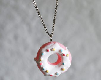 Pink Frosted Donut Necklace on Sterling Chain