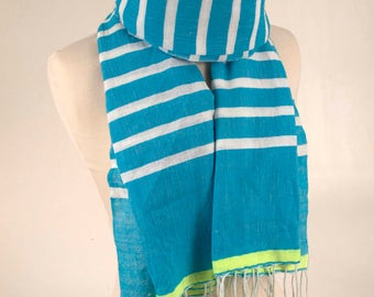 Blue Striped Scarf with Fringe,Blue Summer Scarf, Cotton Scarf, Fashion Scarf, Spring Scarf, Soft Scarf, best Scarf, for her, for him