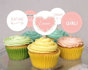 Customizable Adorable Baby Shower Cupcake Toppers - It's a Girl - It's a Boy - Download - Print at home