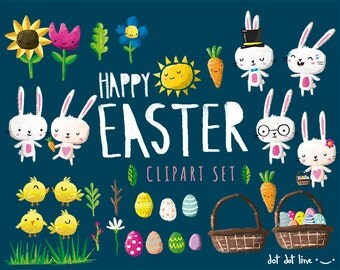50% OFF!! Easter Clipart Set- INSTANT DOWNLOAD Bunnies, flowers, eggs, sun and more clip art graphics