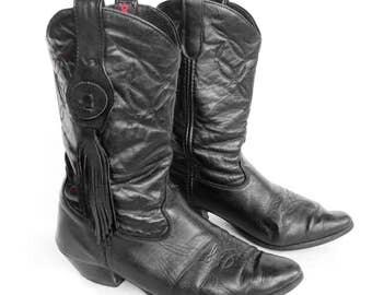 Vintage Laredo Black Leather Fringe Western Cowboy Boots